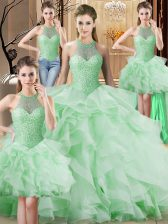Vintage Apple Green Quinceanera Dress Organza Brush Train Sleeveless Beading and Ruffles