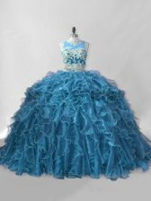 Discount Blue Sweet 16 Dresses Sweet 16 and Quinceanera with Beading and Ruffles Scoop Sleeveless Brush Train Zipper