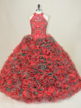 Multi-color Lace Up Sweet 16 Dresses Embroidery Sleeveless Brush Train