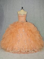 Best Orange Sleeveless Organza Lace Up Quinceanera Gowns for Sweet 16 and Quinceanera