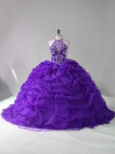 Purple Sleeveless Organza Court Train Lace Up Sweet 16 Quinceanera Dress for Sweet 16 and Quinceanera