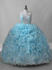 Captivating Baby Blue 15th Birthday Dress Sweetheart Sleeveless Brush Train Lace Up
