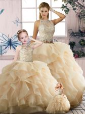Colorful Two Pieces 15th Birthday Dress Champagne Scoop Tulle Sleeveless Floor Length Zipper