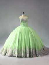 Fashion Yellow Green 15th Birthday Dress Sweet 16 and Quinceanera with Beading and Appliques Sweetheart Sleeveless Court Train Lace Up