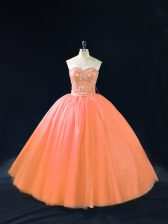 Peach Sweetheart Lace Up Beading 15 Quinceanera Dress Sleeveless