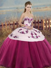 Inexpensive Fuchsia Quinceanera Dresses Military Ball and Sweet 16 and Quinceanera with Embroidery and Bowknot Sweetheart Sleeveless Lace Up