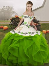 Sleeveless Tulle Floor Length Lace Up Quinceanera Gowns in Green with Embroidery and Ruffles