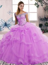 Lilac Quinceanera Gowns Military Ball and Sweet 16 and Quinceanera with Beading and Ruffles Off The Shoulder Sleeveless Lace Up