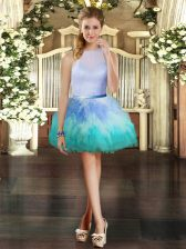 Trendy Ball Gowns Prom Dresses Multi-color Scoop Tulle Sleeveless Mini Length Zipper