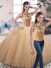 Gold Lace Up Scoop Beading Quinceanera Dress Tulle Sleeveless