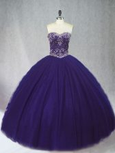Fashionable Purple Sweetheart Lace Up Beading Quinceanera Gowns Sleeveless