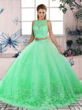 Turquoise Backless Quince Ball Gowns Lace Sleeveless Sweep Train