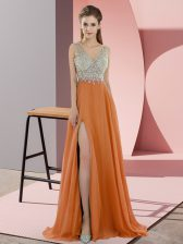Orange Empire Beading Prom Evening Gown Zipper Chiffon Sleeveless