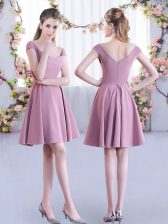 Beauteous Cap Sleeves Chiffon Mini Length Zipper Dama Dress for Quinceanera in Pink with Ruching