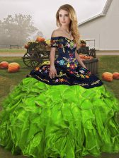 Off The Shoulder Lace Up Embroidery and Ruffles Quinceanera Dress Sleeveless