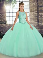 Scoop Sleeveless Tulle Sweet 16 Dress Embroidery Lace Up