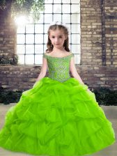 Off The Shoulder Sleeveless Organza Pageant Dresses Beading and Pick Ups Lace Up