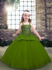 Attractive Olive Green Lace Up Straps Beading Pageant Dress Womens Tulle Sleeveless