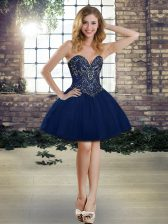 Dynamic Navy Blue Ball Gowns Tulle Sweetheart Sleeveless Beading Mini Length Lace Up Prom Party Dress