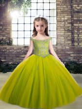 Floor Length Olive Green Girls Pageant Dresses Scoop Sleeveless Lace Up