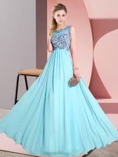 Dazzling Aqua Blue Sleeveless Floor Length Beading and Appliques Backless Court Dresses for Sweet 16