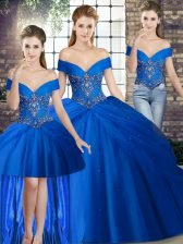 Fine Off The Shoulder Sleeveless Quince Ball Gowns Brush Train Beading and Pick Ups Royal Blue Tulle