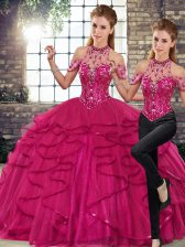 Decent Sleeveless Floor Length Beading and Ruffles Lace Up Sweet 16 Quinceanera Dress with Fuchsia