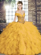 Adorable Floor Length Gold Quinceanera Dress Off The Shoulder Sleeveless Lace Up