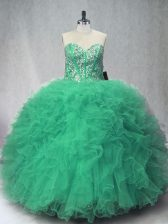 Designer Sleeveless Floor Length Beading and Ruffles Lace Up 15 Quinceanera Dress with Green