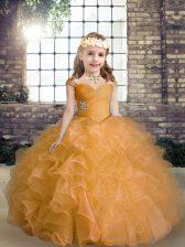 Orange Organza Lace Up Kids Pageant Dress Sleeveless Floor Length Beading and Ruffles
