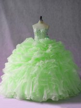Green Quinceanera Dress Sweet 16 and Quinceanera with Beading and Ruffles and Pick Ups Sweetheart Sleeveless Brush Train Lace Up