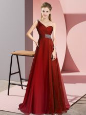 Wine Red One Shoulder Criss Cross Beading Evening Dress Brush Train Sleeveless