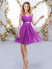Sleeveless Mini Length Belt Zipper Quinceanera Court of Honor Dress with Purple
