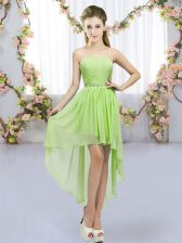 Custom Fit Empire Quinceanera Court Dresses Yellow Green Sweetheart Chiffon Sleeveless High Low Lace Up
