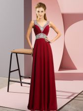Romantic Sleeveless Floor Length Beading Lace Up with Burgundy