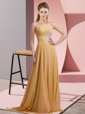 Designer Gold Sleeveless Chiffon Lace Up Prom Dresses for Prom and Party and Military Ball