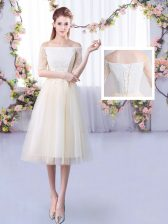 Customized Off The Shoulder Half Sleeves Dama Dress Ankle Length Lace Champagne Tulle