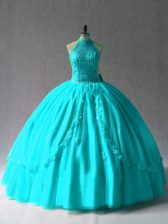 Aqua Blue Sleeveless Appliques Floor Length Quinceanera Dresses