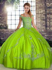 Green Sleeveless Floor Length Beading and Embroidery Lace Up Quince Ball Gowns