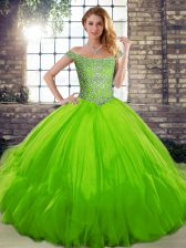 Ball Gowns Tulle Off The Shoulder Sleeveless Beading and Ruffles Floor Length Lace Up Vestidos de Quinceanera