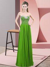 Classical Green Sleeveless Beading Floor Length Evening Dress