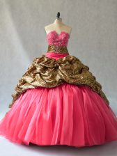 Shining Coral Red Lace Up V-neck Beading and Pick Ups Quinceanera Gown Organza Sleeveless