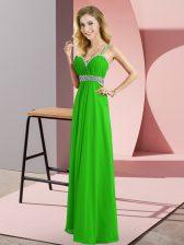 Cheap Green Empire Straps Sleeveless Chiffon Floor Length Criss Cross Beading Prom Party Dress