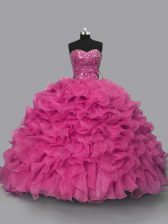 Lovely Hot Pink Ball Gowns Organza Sweetheart Sleeveless Beading Floor Length Lace Up Sweet 16 Dress