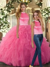 Perfect Beading and Ruffles Quinceanera Gown Hot Pink Backless Sleeveless Floor Length