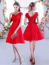 Red Cap Sleeves Lace Mini Length Quinceanera Dama Dress