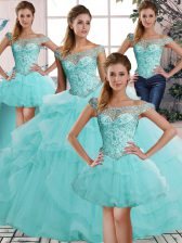 Dynamic Aqua Blue Lace Up Off The Shoulder Beading and Ruffles Quinceanera Gown Tulle Sleeveless