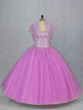 Sleeveless Tulle Floor Length Lace Up Quinceanera Gown in Lilac with Beading