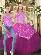 Fuchsia Halter Top Neckline Embroidery Sweet 16 Dresses Sleeveless Lace Up