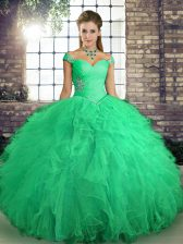 Adorable Turquoise Ball Gowns Beading and Ruffles Quinceanera Dress Lace Up Tulle Sleeveless Floor Length